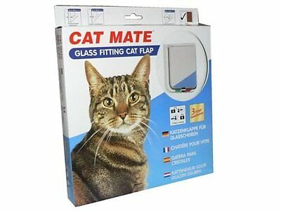 Cat Mate 4 Way Locking  Glass Fitting Cat Flap and Door Liner White 10 pack