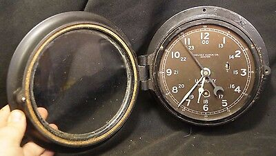 1940s WW2 USS Fulton A5 - 11 Chelsea Clock US NAVY Ships 8 Day Clock ORIGINAL