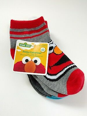 Sesame Street Socks Toddler 3 Pairs Size 2-4, Shoe Size 4-7 Brand New With Tags
