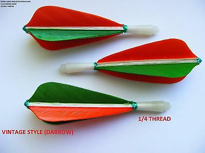 "1/4 Inch Thread ""vane Shape"" Long Green & Orange Hand Made Feather Flights"