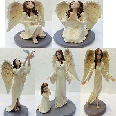 Large Divine Guardian Angel Wing Ornament Figurine Mother Child Pray Bless Love