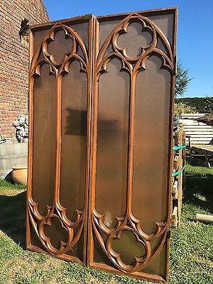 Stunning Big Size Gothic Church  Panels/windows in wood & glass circa 1880