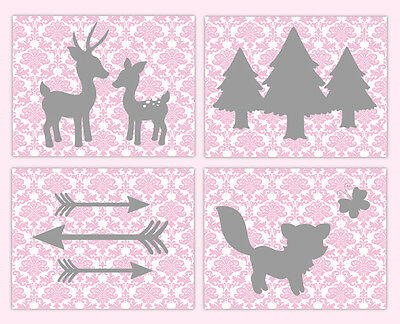 Girl Woodland Nursery Prints Animal Wall Art Pink Gray Tribal Rustic Arrow Deer