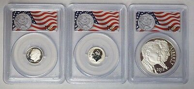 3-pc. 2015 US March of Dimes Proof Silver Set  PCGS PR70 F/S (no spots) Free S/H
