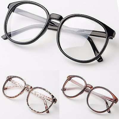 Large Oval Clear Lens Glasses Fashion Party Vintage Womens Mens