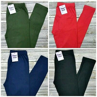 Solid Leggings Buttery Soft Black Olive Red Navy ONE SIZE OS