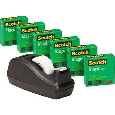 "Scotch C40 Tape Deluxe Dispenser 1 "" Core with 6 rolls of 3/4"" Magic Tape - NEW"