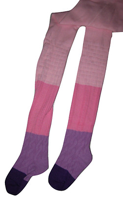 Cotton Tights Girls Colorblock Light Pink Hot Pink Purple Footed Fits 2-8 years