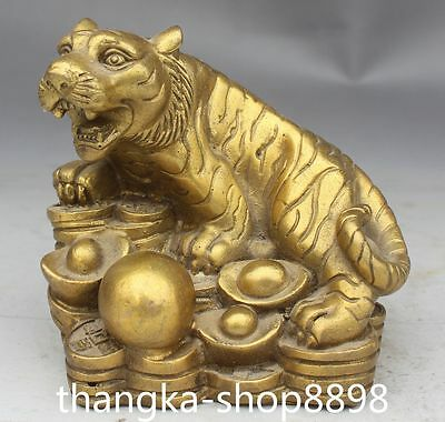 9CM Chinese Folk Bronze Wealth YuanBao Coins Zodiac Year Animal Tiger Statue