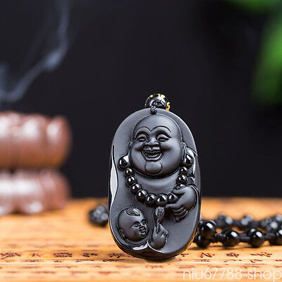 100% Natural Black Obsidian laughing Buddha Lucky Amulet pendant Necklace