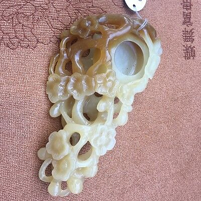 Chinese Exquisite hand-carved Plum blossom carving Hetian jade Pen wash