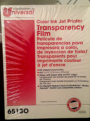 NEW Color Ink Jet Printer Transparency Film #65130/ 50 Sheets by Universal