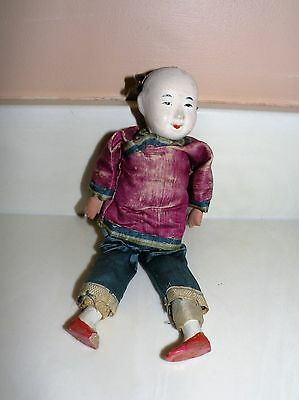 "Antique Chinese / Asian 9"" Doll Figure   Post 1940's"