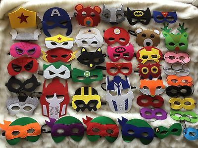 Kids SuperHero / Star Wars / Ninja Turtles / Minions Felt Mask 150 designs!!