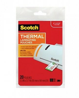 3M 5 Mil Thick Scotch Thermal Pouches Business Card 3.75 x 2.37Inch, Pack of