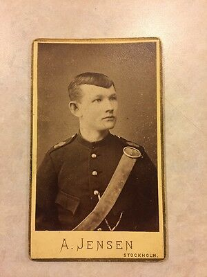 Black and White Sweden Young Man in Uniform Vintage Snapshot Photograph