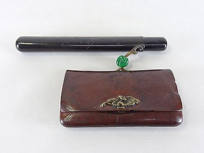 170306 Vintage Japanese Kiseru holder with leather cut tobacco pouch purse