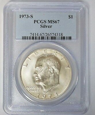 1973 S Silver Ike Eisenhower Dollar $1 PCGS MS 67