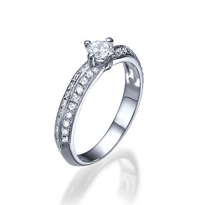 2/5 Ct Solitaire Diamond Engagement Ring 14K White Gold Si1/d Round Cut 9266