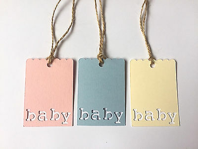 10/20 BABY SHOWER GIFT TAGS-BABY LABEL TAG-PINK/BLUE/CREAM-6.5cm-TWINE/JUTE