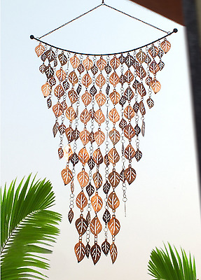 Wind Chime Home Outdoor Patio Decor Cascading Leaves Design Rain Chain Copper