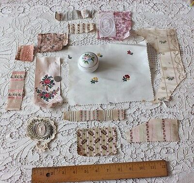 13 Antique French Victorian Doll Scale Silk Fabrics & Appliques
