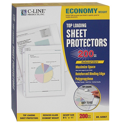 C-Line Top Loading Economy Weight Poly Sheet Protectors, Reduced Glare, 8.5 x 11