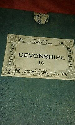 Edward Stanford ordnance survey map linen backed Devonshire 18