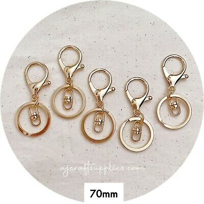 10x LIGHT GOLD lobster key ring LARGE clasp keychain rings DIY silicone keyring