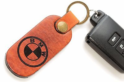 BMW Genuine Brown Leather Key Chain 2 Key Ring New / Handmade
