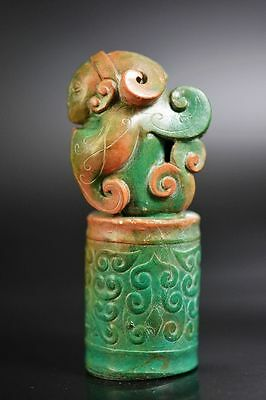 Unique Chinese Turquoise stone carved Man with wings seal  G23