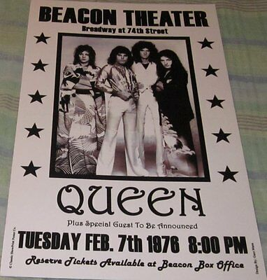 Queen Beacon Theater 1976 Replica Concert Poster W/top Loader