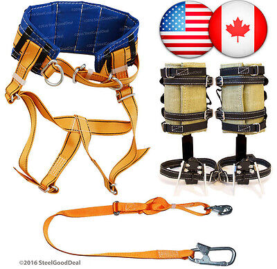 Tree Climbing Spike Set Spurs Gaffs Adjustable Safety Lanyard Harness Belt NEW