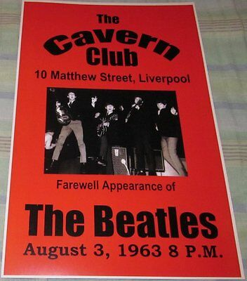 Beatles Cavern Club 68 Farewell Appearance Replica Concert Poster W/top Loader