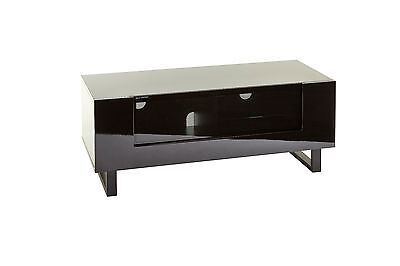 """Black gloss low board modern tv stand cabinet glass door for 32""""-50"""" inch LED tv"""