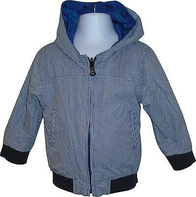 USED Boys Hugo Boss Blue Checked Style 2 Way Hooded Coat Size 12 Months (C.C)