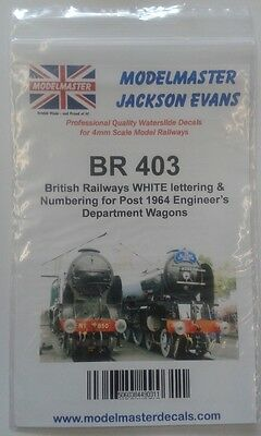 Sheet of decals for BR 1965-90s Engineering Dept. Wagons Modelmaster MMBR403 L1
