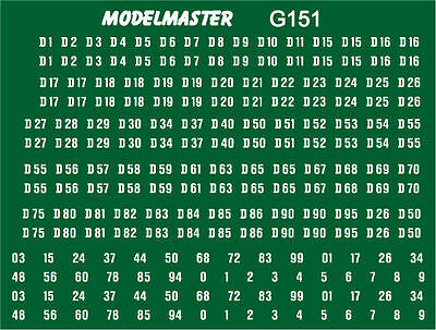 BR Green Diesel Locomotive Numbers decals transfers - Modelmaster MMG151 L1
