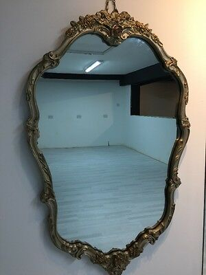 Large Antique French Rococo Style Vintage Floral/Rose Gold/gilt Framed Mirror
