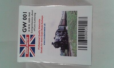 Lettering Decals for GWR Loco (1889-1948) - Modelmaster MMGW001 L1