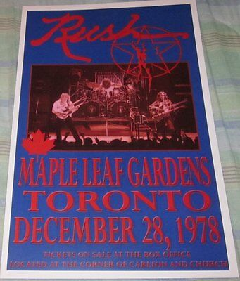 Rush 1978 Maple Leaf Gardens Replica Concert Poster W/top Loader
