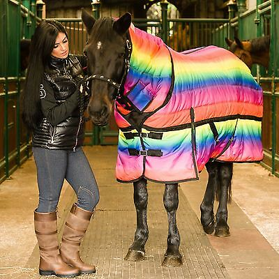 Supreme Quality Horse 300g Heavyweight Full Fixed Neck Rainbow Winter Stable Rug