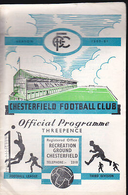 1960/61 CHESTERFIELD V BOURNEMOUTH 12-11-1960 Division 3