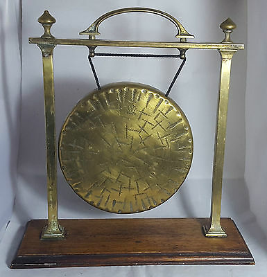 Genuine Antique Large and Heavy Brass Burmese Gong with Wooden Stand 2.38Kg