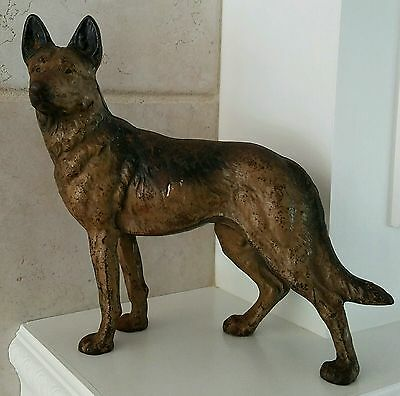 Antique Hubley Cast Iron  German Shepherd.?  Sculptured Door Stop. Original