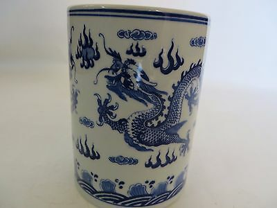 Chinese bue&white porcelain dragon brush pot with mark