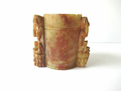Vintage Soapstone Small Cup or Toothpick Holder See Hear Speak No Evil Monkeys