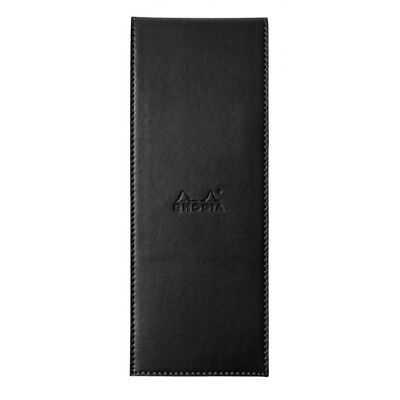 Rhodia Pad Holder Faux Leather Black w Pencil Holder 3 x 8.25 & Graph Notepad