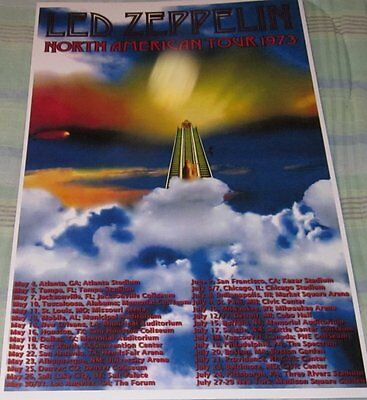 Led Zeppelin 1973 Tour Stairway To Heaven Replica Concert Poster W/top Loader