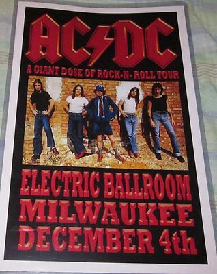 Ac/dc 1976 Electric Ballroom Replica Concert Poster W/top Loader